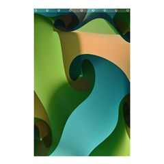 Ribbons Of Blue Aqua Green And Orange Woven Into A Curved Shape Form This Background Shower Curtain 48  X 72  (small)  by Nexatart