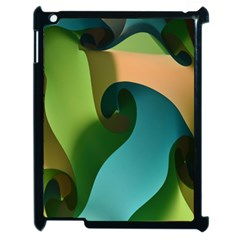 Ribbons Of Blue Aqua Green And Orange Woven Into A Curved Shape Form This Background Apple Ipad 2 Case (black) by Nexatart
