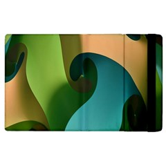 Ribbons Of Blue Aqua Green And Orange Woven Into A Curved Shape Form This Background Apple Ipad 3/4 Flip Case by Nexatart