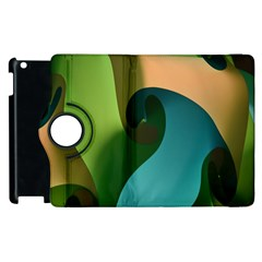Ribbons Of Blue Aqua Green And Orange Woven Into A Curved Shape Form This Background Apple Ipad 2 Flip 360 Case by Nexatart