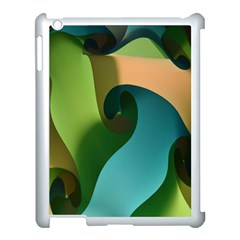 Ribbons Of Blue Aqua Green And Orange Woven Into A Curved Shape Form This Background Apple Ipad 3/4 Case (white) by Nexatart