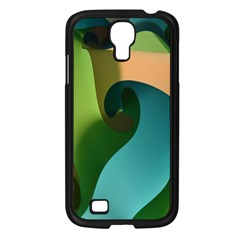 Ribbons Of Blue Aqua Green And Orange Woven Into A Curved Shape Form This Background Samsung Galaxy S4 I9500/ I9505 Case (black) by Nexatart