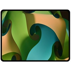 Ribbons Of Blue Aqua Green And Orange Woven Into A Curved Shape Form This Background Double Sided Fleece Blanket (large)  by Nexatart