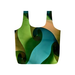Ribbons Of Blue Aqua Green And Orange Woven Into A Curved Shape Form This Background Full Print Recycle Bags (s)  by Nexatart