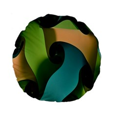 Ribbons Of Blue Aqua Green And Orange Woven Into A Curved Shape Form This Background Standard 15  Premium Flano Round Cushions by Nexatart