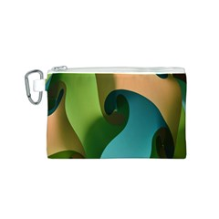 Ribbons Of Blue Aqua Green And Orange Woven Into A Curved Shape Form This Background Canvas Cosmetic Bag (s) by Nexatart