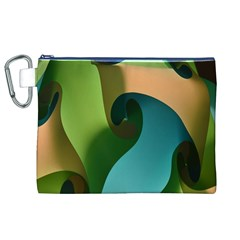 Ribbons Of Blue Aqua Green And Orange Woven Into A Curved Shape Form This Background Canvas Cosmetic Bag (xl)