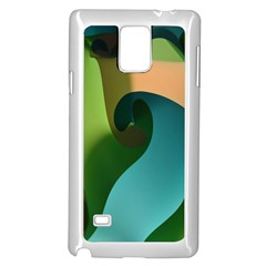 Ribbons Of Blue Aqua Green And Orange Woven Into A Curved Shape Form This Background Samsung Galaxy Note 4 Case (white) by Nexatart