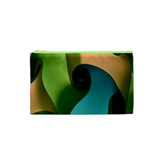 Ribbons Of Blue Aqua Green And Orange Woven Into A Curved Shape Form This Background Cosmetic Bag (xs) by Nexatart