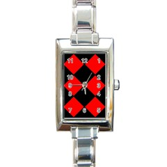 Red Black Square Pattern Rectangle Italian Charm Watch by Nexatart
