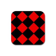Red Black Square Pattern Rubber Coaster (square)  by Nexatart
