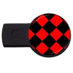 Red Black square Pattern USB Flash Drive Round (4 GB)