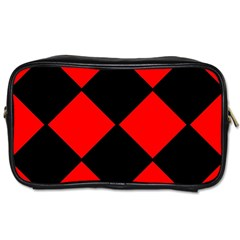 Red Black Square Pattern Toiletries Bags 2 Side by Nexatart