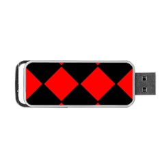 Red Black Square Pattern Portable Usb Flash (one Side)