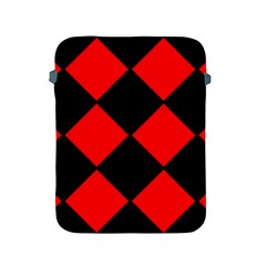 Red Black Square Pattern Apple Ipad 2/3/4 Protective Soft Cases by Nexatart