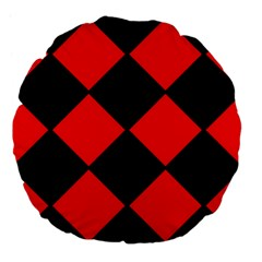 Red Black Square Pattern Large 18  Premium Flano Round Cushions by Nexatart