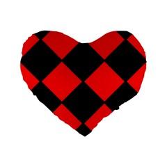 Red Black Square Pattern Standard 16  Premium Flano Heart Shape Cushions by Nexatart
