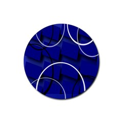 Blue Abstract Pattern Rings Abstract Rubber Round Coaster (4 Pack)  by Nexatart