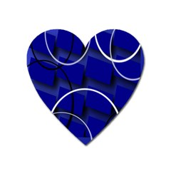 Blue Abstract Pattern Rings Abstract Heart Magnet by Nexatart