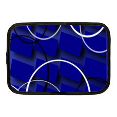 Blue Abstract Pattern Rings Abstract Netbook Case (medium)  by Nexatart