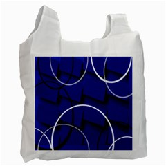 Blue Abstract Pattern Rings Abstract Recycle Bag (two Side)  by Nexatart