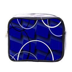 Blue Abstract Pattern Rings Abstract Mini Toiletries Bags by Nexatart
