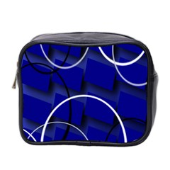 Blue Abstract Pattern Rings Abstract Mini Toiletries Bag 2 Side by Nexatart