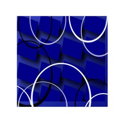 Blue Abstract Pattern Rings Abstract Small Satin Scarf (square) by Nexatart