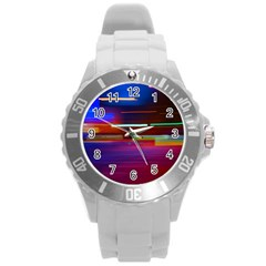 Abstract Background Pictures Round Plastic Sport Watch (l) by Nexatart