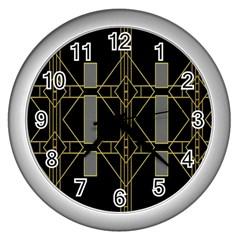 Simple Art Deco Style Art Pattern Wall Clocks (silver)  by Nexatart