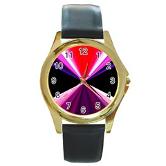 Red And Purple Triangles Abstract Pattern Background Round Gold Metal Watch by Nexatart