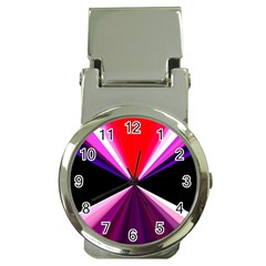 Red And Purple Triangles Abstract Pattern Background Money Clip Watches by Nexatart