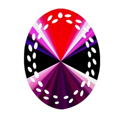 Red And Purple Triangles Abstract Pattern Background Ornament (oval Filigree) by Nexatart