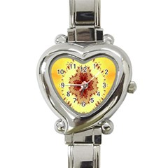 Yellow Digital Kaleidoskope Computer Graphic Heart Italian Charm Watch by Nexatart