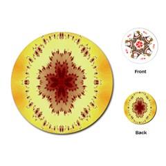 Yellow Digital Kaleidoskope Computer Graphic Playing Cards (round)  by Nexatart