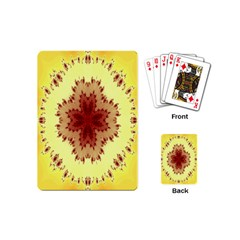 Yellow Digital Kaleidoskope Computer Graphic Playing Cards (mini)  by Nexatart