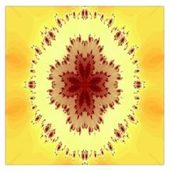 Yellow Digital Kaleidoskope Computer Graphic Large Satin Scarf (square) by Nexatart