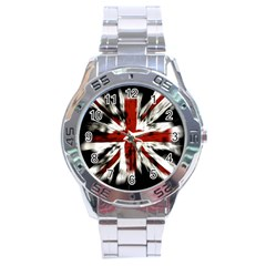 British Flag Stainless Steel Analogue Watch