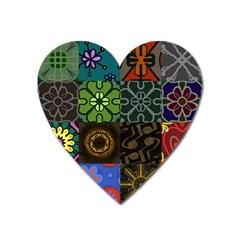 Digitally Created Abstract Patchwork Collage Pattern Heart Magnet by Nexatart