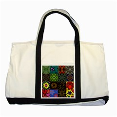 Digitally Created Abstract Patchwork Collage Pattern Two Tone Tote Bag by Nexatart
