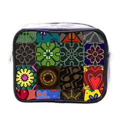 Digitally Created Abstract Patchwork Collage Pattern Mini Toiletries Bags by Nexatart