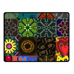 Digitally Created Abstract Patchwork Collage Pattern Fleece Blanket (small) by Nexatart