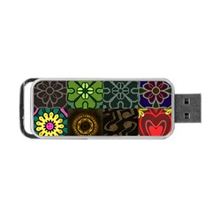 Digitally Created Abstract Patchwork Collage Pattern Portable Usb Flash (two Sides) by Nexatart