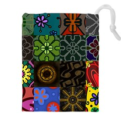 Digitally Created Abstract Patchwork Collage Pattern Drawstring Pouches (xxl) by Nexatart