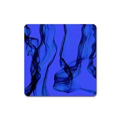 Blue Velvet Ribbon Background Square Magnet by Nexatart