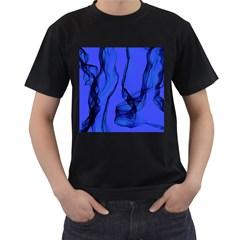 Blue Velvet Ribbon Background Men s T Shirt (black) (two Sided) by Nexatart