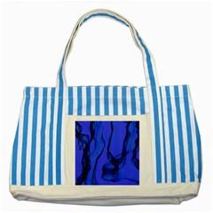 Blue Velvet Ribbon Background Striped Blue Tote Bag by Nexatart