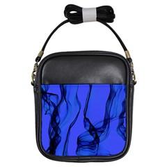 Blue Velvet Ribbon Background Girls Sling Bags by Nexatart