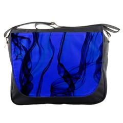 Blue Velvet Ribbon Background Messenger Bags by Nexatart