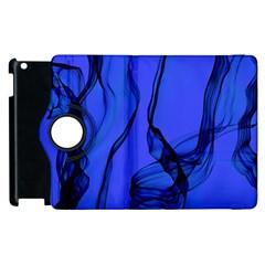 Blue Velvet Ribbon Background Apple Ipad 2 Flip 360 Case by Nexatart